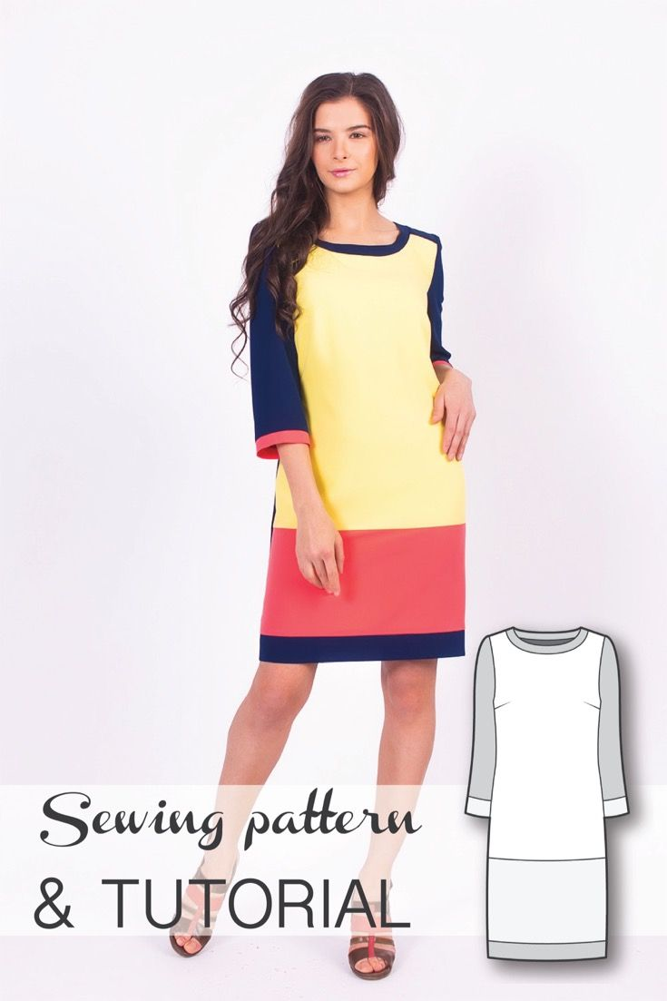 Color Blocked Dress Sewing Pattern and Sewing Tutorial