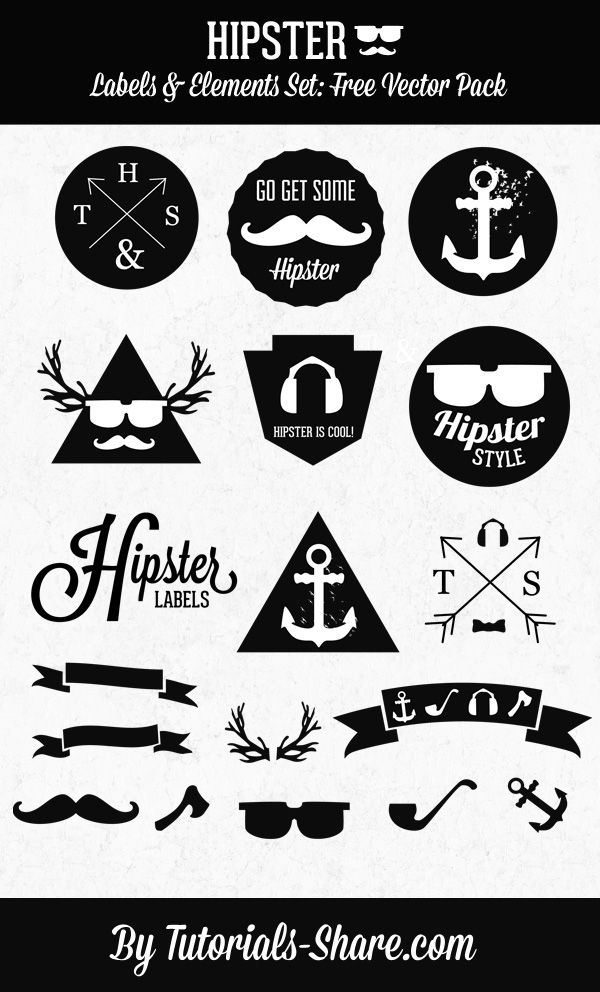 Hipster free vector graphics - create something fun with them! #graphics #hipster #diy