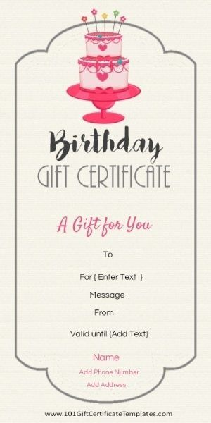 Free Printable Birthday Gift Certificate Template That Can Be Customized  Online With Our Free Certificate Maker And Printed At Home.  Gift Certificate Maker Free