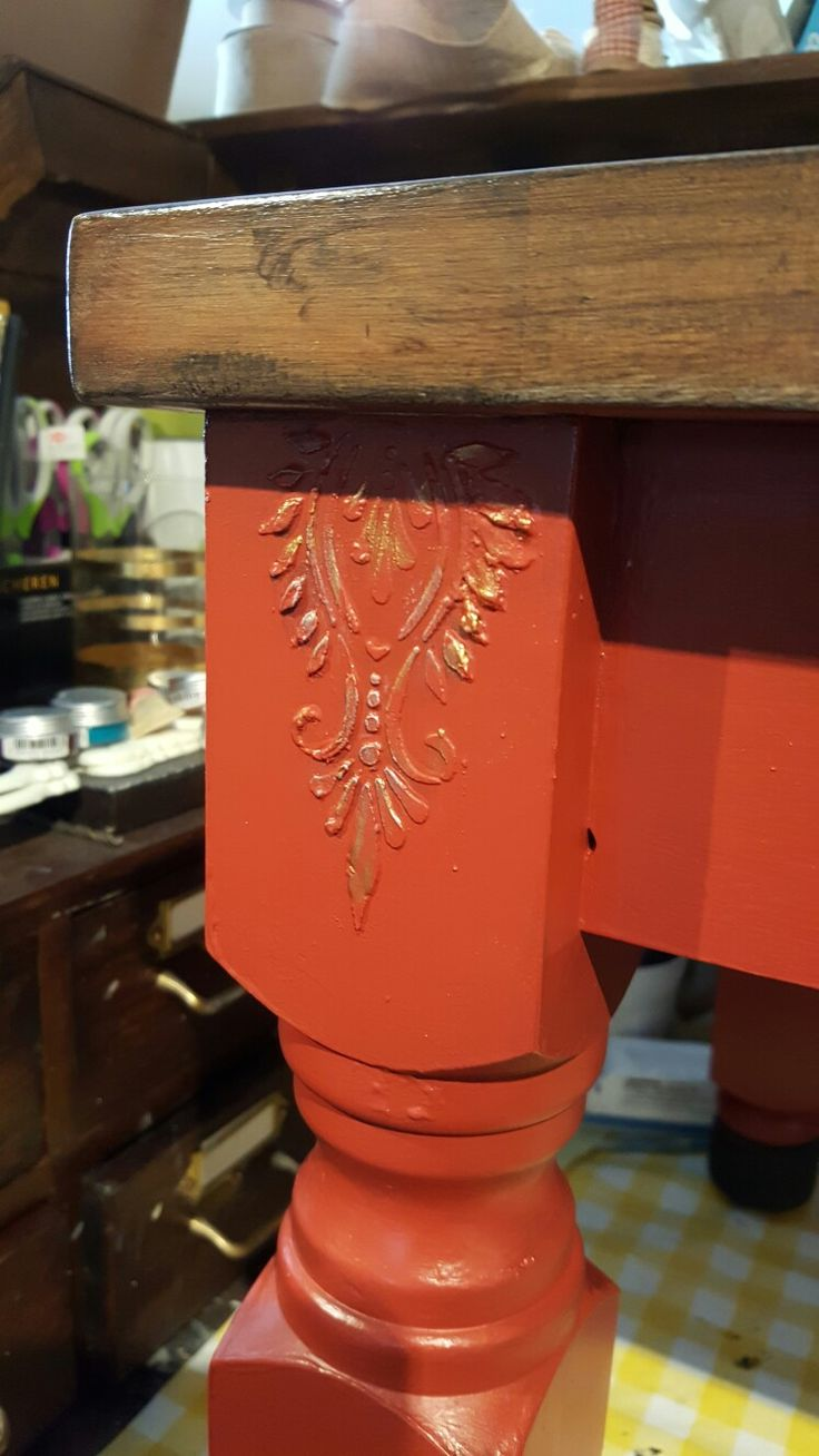 Brick red milk paint by General Finishes with raised stencilling from www.shabby.ie