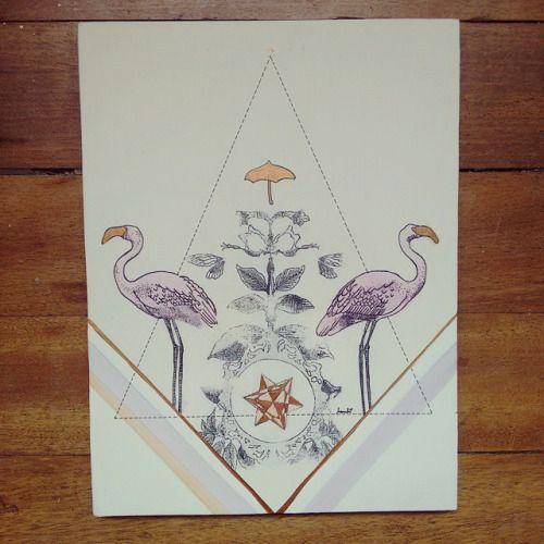 """De la serie """" """" Original Vs Copia """" : """" 24 horas en rosa """" """" pieza única #Himallineishon #art #illustration #pink #flamingo"""