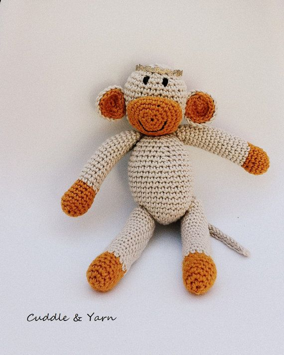 Crochet Baby Monkey Tiny Monkey Amigurumi Toy by CuddleandYarn