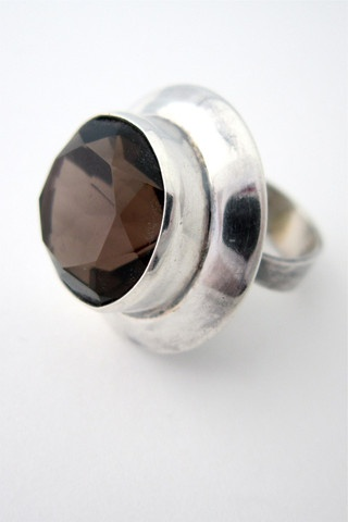 Erik Granit, Finland massive sterling & smoky quartz ring
