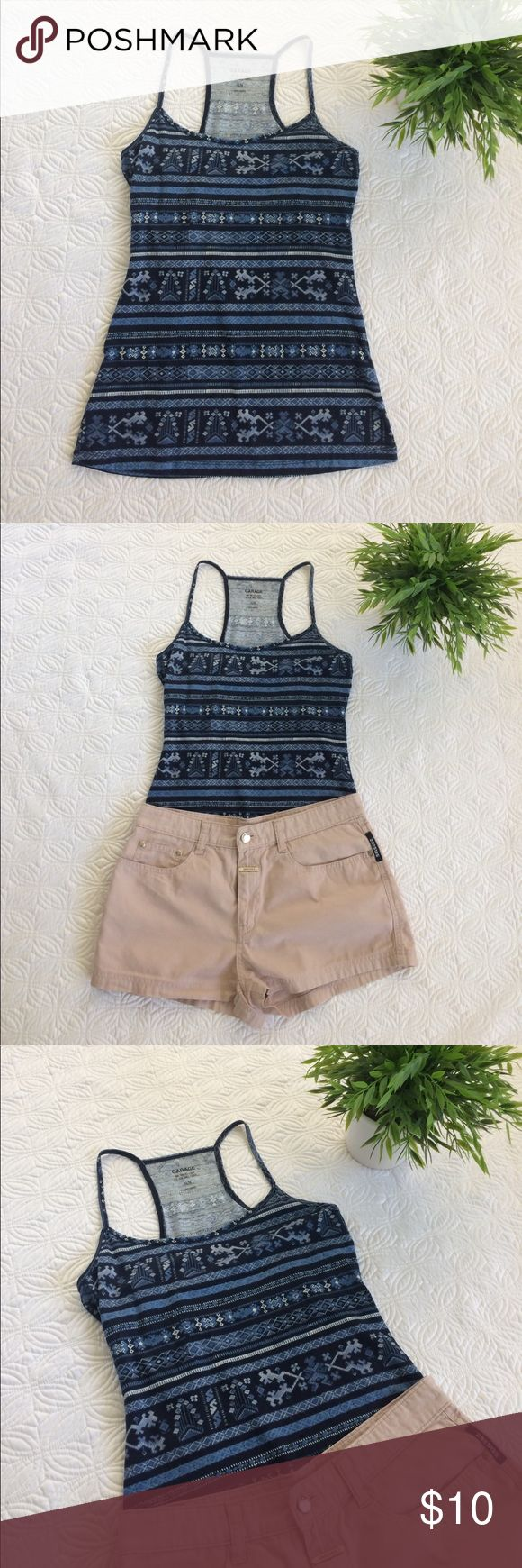 Aztec print Garage cami Soft and trendy aztec print Garage cami that would look great layered under a sheet top or sweater. No rips, tears, or stains. 95% cotton, 5% spandex. Garage Tops Camisoles