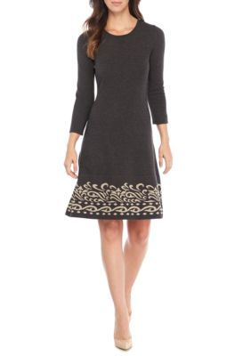 J Howard Women's One-Piece Three-Quarter Sleeve Scoop Neck Fit-And-Flare Dress - Charcoal - Xl