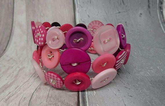 Pink wraparound button bracelet by FolbarJewellery on Etsy