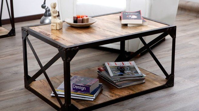 Table basse bois métal // http://www.deco.fr/diaporama/photo-du-metal-pour-ma-table-basse-74149/