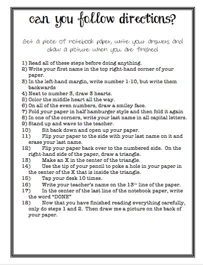 Printables Following Directions Worksheet Middle School 1000 ideas about following directions activities on pinterest can you follow list of crazy the first which is read all before doing anything to