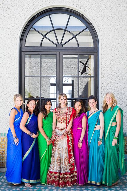 This Beautiful, Indian-American Wedding Is The Best Of Both Worlds #refinery29  http://www.refinery29.com/100-layer-cake/85#slide12  Rachel's Indian lehenga (skirt) is from Sahil Boutique in Chicago + all the bangles in the bridal party are from India.Bridesmaids' Ceremony Dresses: Joanna August.