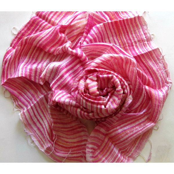 Pink Silk Shawl Striped Hand Dyed Handwoven Batik Handmade Wedding Gift Wedding Accessories Light Weight Silk Shawl Natural Pure Raw Silk (€25) found on Polyvore featuring women's fashion, accessories, scarves, shawl scarves, pink silk scarves, lightweight shawl, striped shawl and batik scarves