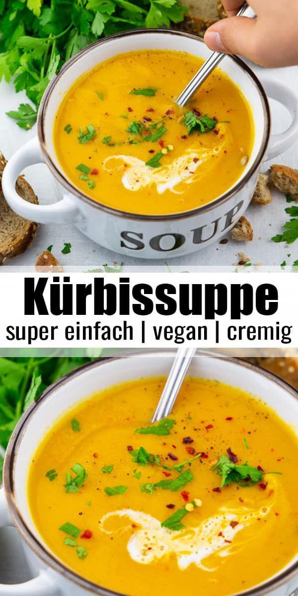 Diese Kürbissuppe mit Kokosmilch ist super lecker und sehr schön cremig. Ma …   – Vegan Heaven Rezepte ♡
