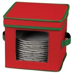 Household Essentials 532-HOL Holiday Dinnerware Storage Chest for Dessert Plates or Bowls, Red