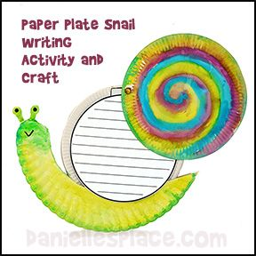 Snail Paper Plate Craft with writing sheet from www.daniellesplace.com