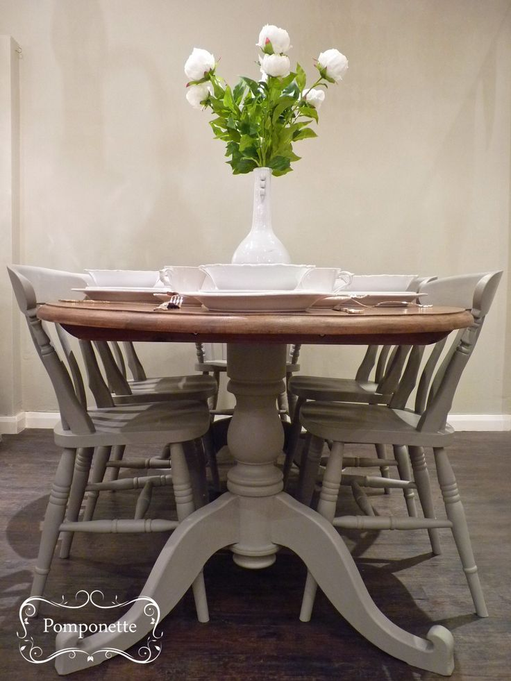 Oval Dining Table and Six Chairs. custom mix to create a mushroom shade  with a mix of Soft Wax on top