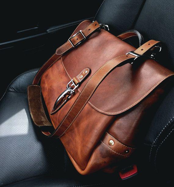 """Soho 16"""" Mailbag, English Tan Horween Dublin Leather Messenger Bag with Quik Latch, Shoulder Bag, Vintage Mail Bag"""