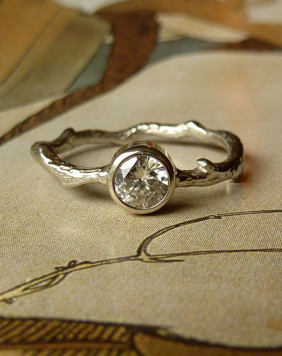 Round Moissanite Twig Ring ... whoa very different
