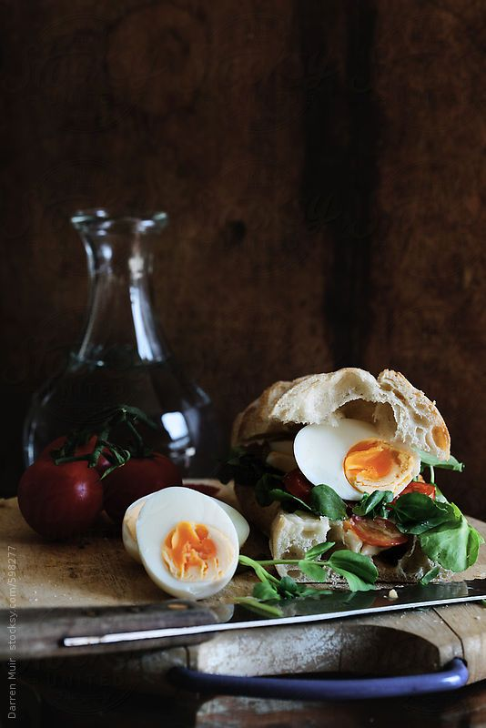 Lunch sandwich. Boiled egg with tomato and watercress. by DarrenMuir | Stocksy United