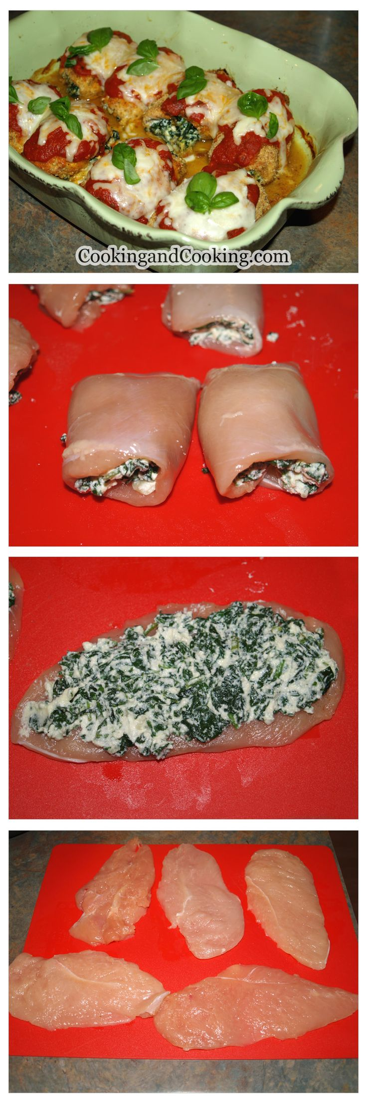 Spinach Chicken Roll Recipe Low carb...just leave out the bread crumbs