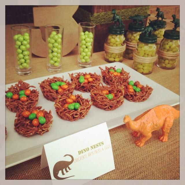 Cute dino nests at a boy birthday party!  See more party ideas at CatchMyParty.com!