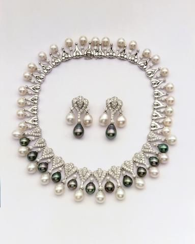 18K White Gold Tahitian Pearl Necklace with Diamonds