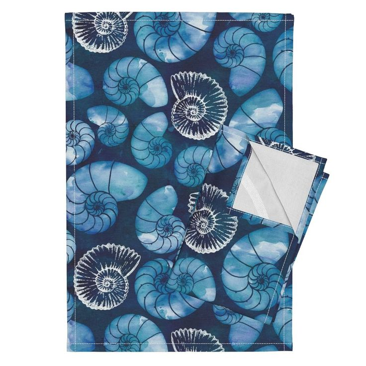 Nautilus fossils in sapphire blue on Orpington by adenaj | Roostery Home Decor