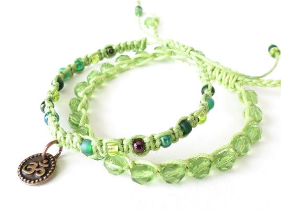 Set of 2x spring green stacking bracelets by MirasBeadBoutique, £12.50