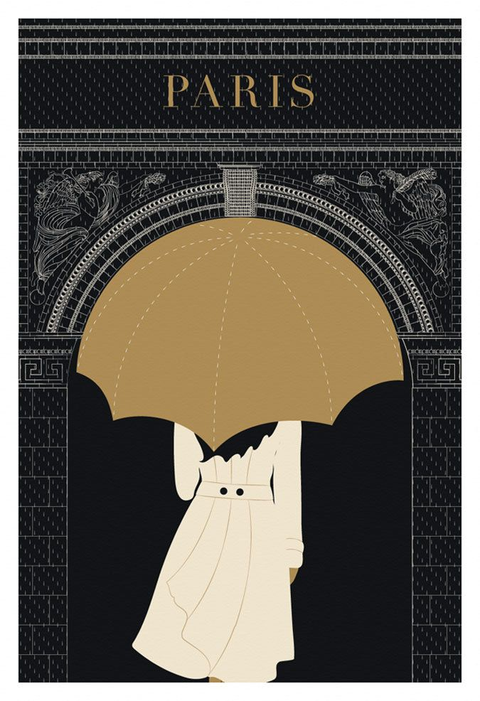 Paris, Umbrella, Arc de Triomphe - Poster Print, Original Illustration, Art Print, Black and Gold Paris, Drawing and Illustration. $24,00, via Etsy.
