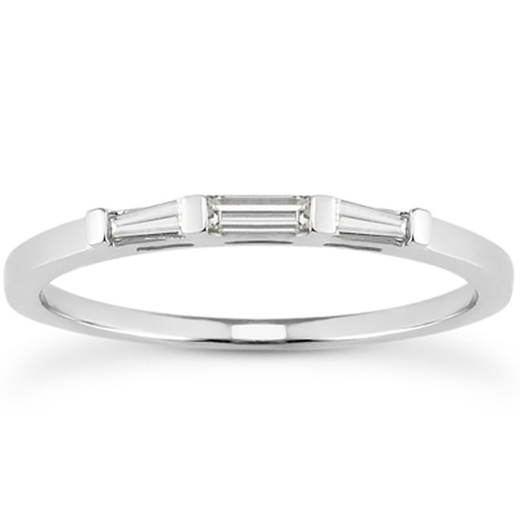 Triple Slim Baguette Diamond 14k White Gold Wedding Ring Band – Diamond Sky Club®