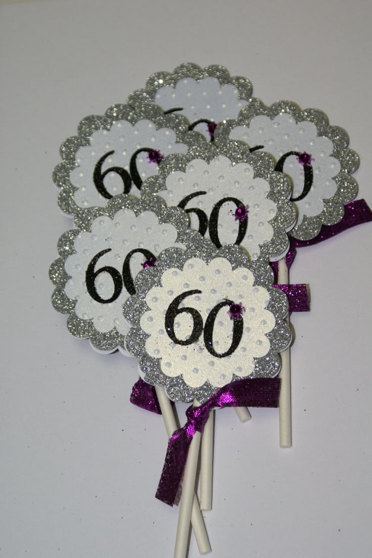 60th Birthday Cupcake Topper - or center pieces??  EKB could totally do this easily....