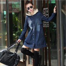 Новый 2016 дамы с капюшоном джинсовые куртки и пиджаки джинсы пальто классические куртка женщин мода джинсы пальто женские куртки Большой размер B305(China (Mainland))