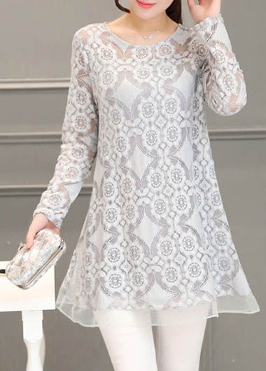Round Neck Long Sleeve Lace Grey Blouse  on sale only US$29.69 now, buy cheap Round Neck Long Sleeve Lace Grey Blouse  at lulugal.com