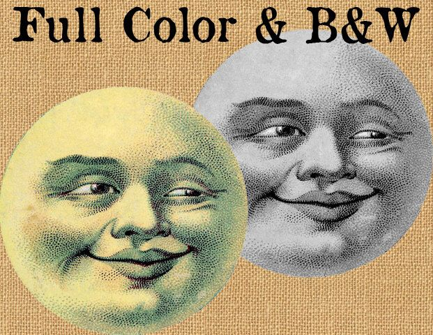 Full Moon Face Lunar Luna Vintage Color Printable Image Graphic Digital Antique Clip Art Transfer Print jpg jpeg png INSTANT Download V407 by DigitalDesignVault on Etsy https://www.etsy.com/listing/243703727/full-moon-face-lunar-luna-vintage-color