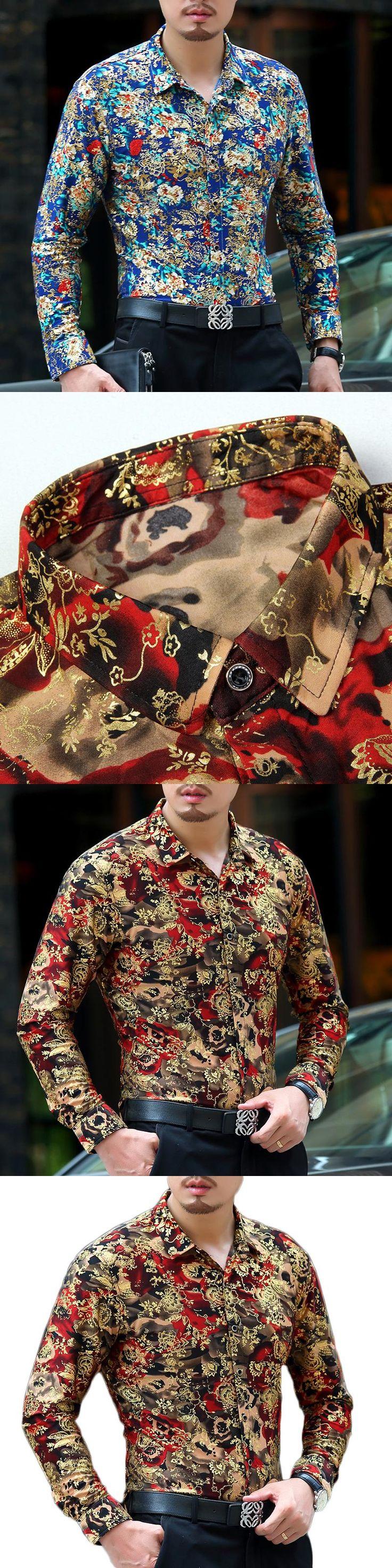 2017 Luxury Shirts Mens Floral Printed Baroque Shirts Mens Silk Shirts Velvet Camisa Slim Fit Chemise Homme Social Club Dresses