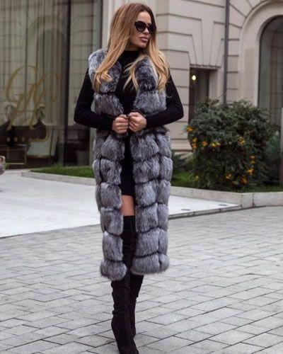 Vesta lunga de blana ecologica cu insertii piele