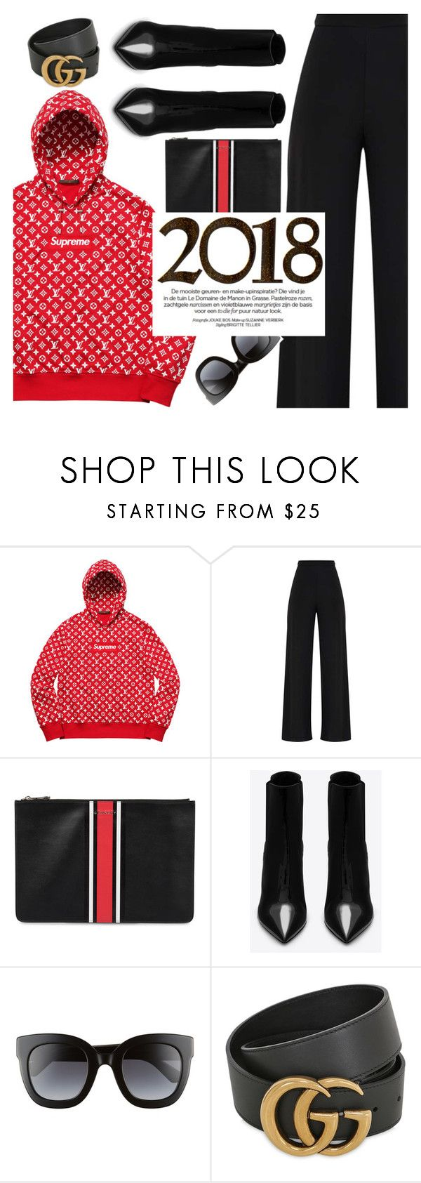 """""""Supreme X louis Vuitton"""" by floralandmay ❤ liked on Polyvore featuring Louis Vuitton, Givenchy, Yves Saint Laurent, Gucci, logo and polyvoreeditorial"""