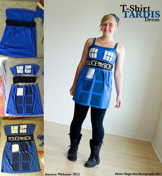 T-Shirt TARDIS Dress- A quick Tardis costume made of old t-shirts.