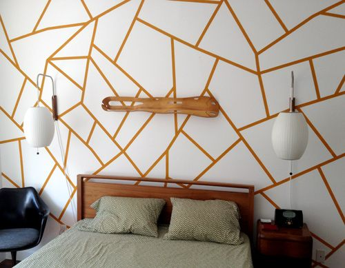 Geometric wall painting. LOVE but the lines a white/cream and the spaces filled in with all kinds of pastels