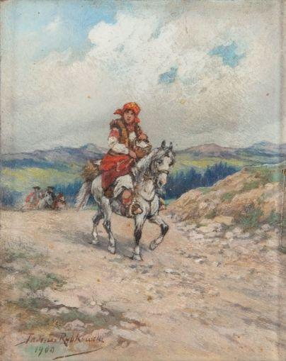Tadeusz Rybkowski - Góralka na koniu, 1900 r.