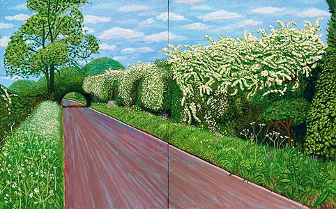 David Hockney and his fascination with hawthorn blossoms.  Loved the exhibition in that London.