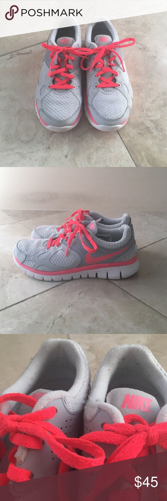 Women's Gray and Coral Nike Sneakers Women's US 6.5, UK 4, EUR 37.5, cm 23.5. Nike Sneakers. White, gray, and coral. Excellent condition. Worn a few times. Small amount of pilling inside shoe by heel. Little wear on bottom. Nike Shoes Sneakers