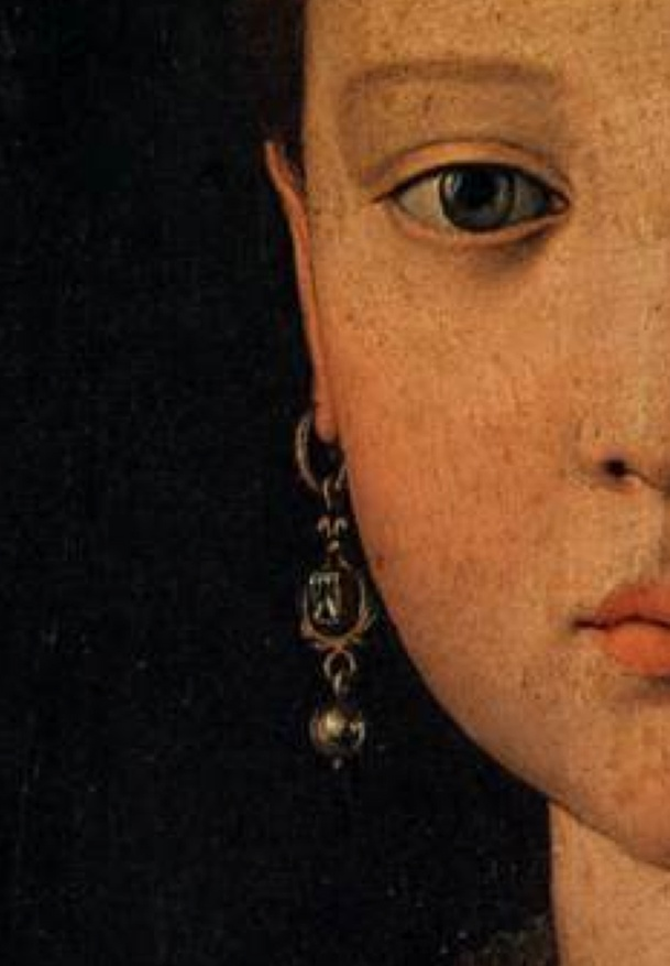 Portrait of Maria de' Medici by Agnelo Bronzino 1551 Tempera on wood [Left original except for cropping because messing with it made her skin looked diseased]