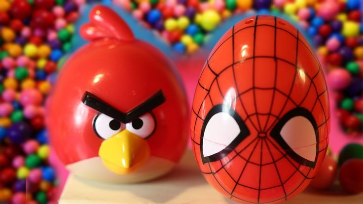 surprise eggs kinder surprise angry bird surprise spiderman egg and mons...