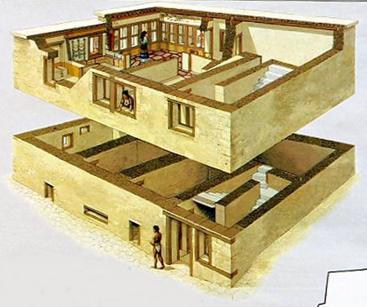 Reconstruction, Akrotiri bronze settlement of Thera - 4500 - 1600 BCE.