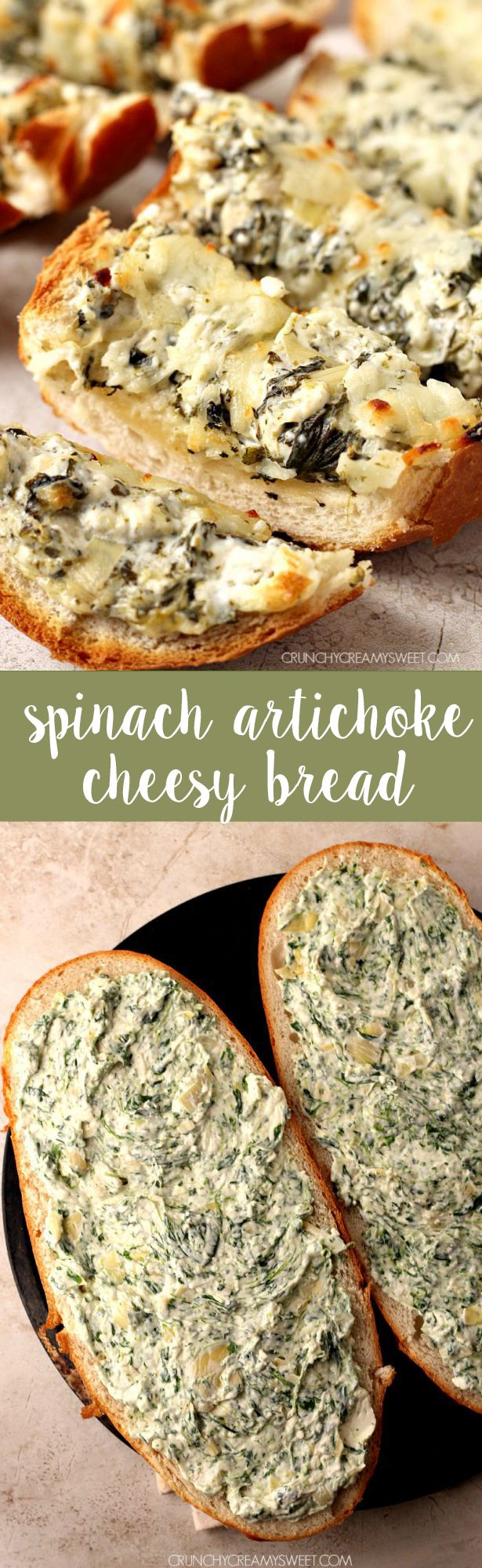 Spinach artichoke appetizer dip cheesy bread. Try making with Jimmy John's Day Old Bread!