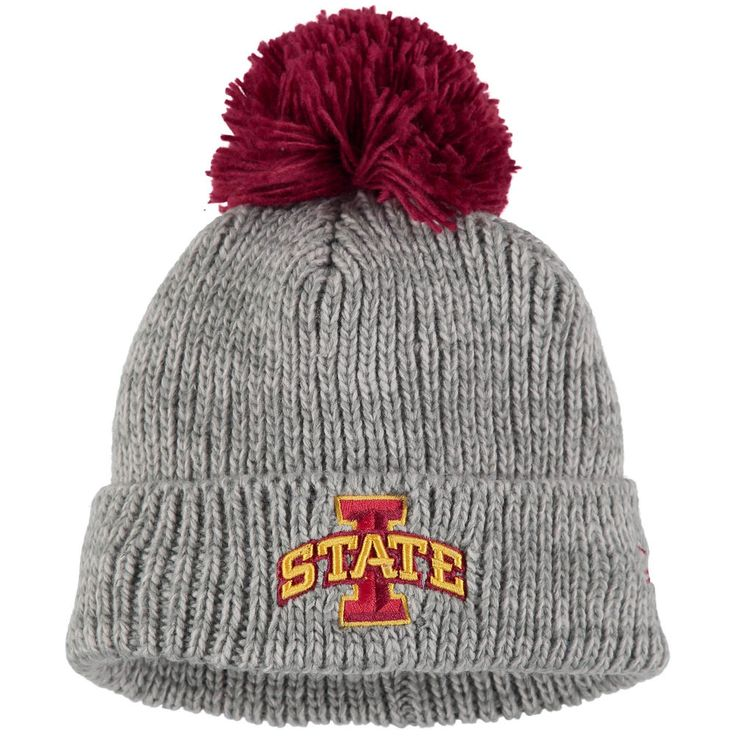 Iowa State Cyclones New Era Start Cuff Knit Hat With Pom - Gray