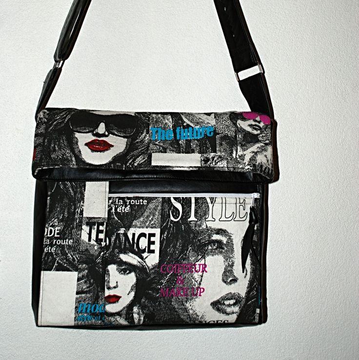 """TRENDY+CROSS+BODY+KABELKA+""""+NEW+LOOK+""""+Módní+trendy+MALÁ+&+VELKÁ+kabelka+""""cross+body""""+z+černé,+velmi+zdařilé+imitace+kůžea+designové+100%+pevné,+dekorační+bavlny+s+retro+vzorem.+Autorskou+extravagantní+kabelku+jsem+navrhla+a+ušila+z+koženky+-+imitace+kůže+barvy+černé+a+ze100+%+dekorační+bavlny+s+designem+módních+stylů,+podklad+barvy+je+bílá.+Bavlna+je+hodně+pevná,+..."""