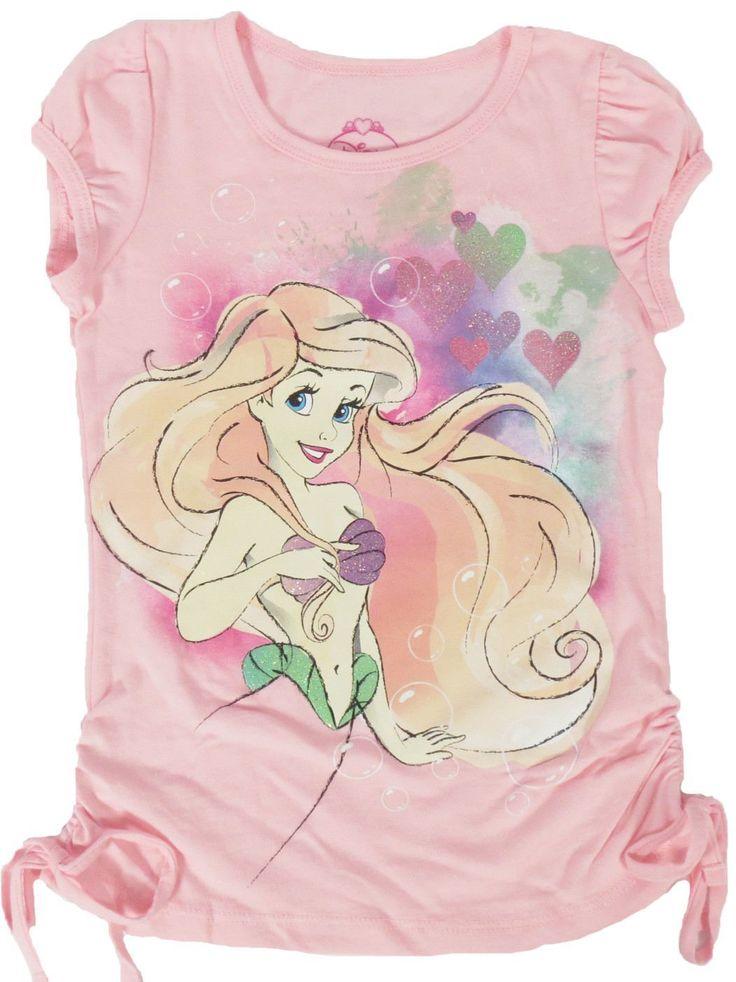 Disney Little Mermaid Ariel Pink Hearts Glitter Girls Side Tie Top T-Shirt