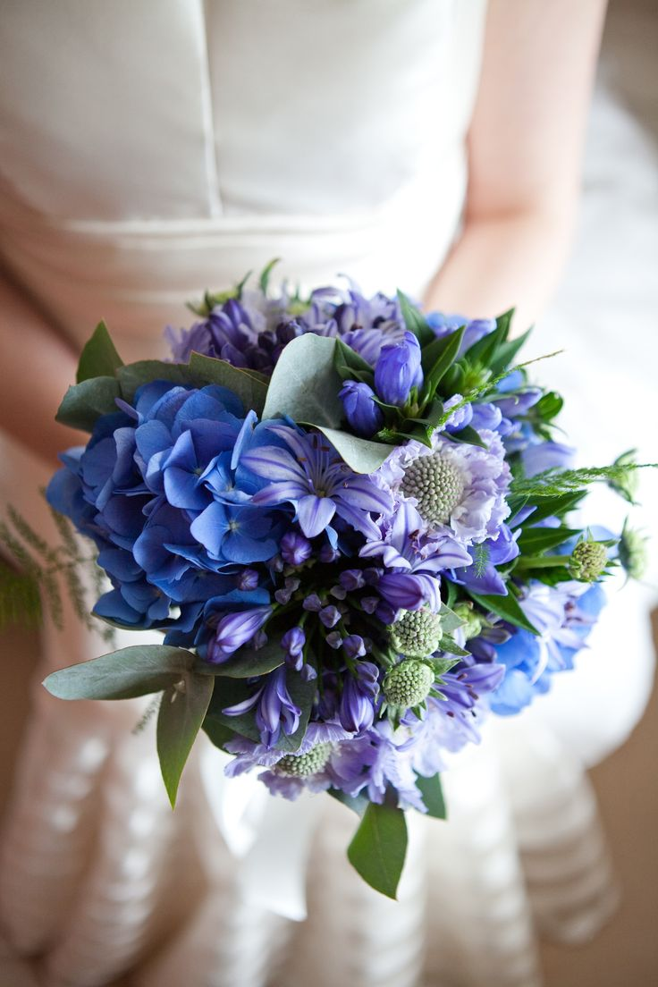 1751 best wedding bouquets images on pinterest marriage brides wedding bouquet made of blue flowers hydrangea agapanthus scabiosa gentian and eucalyptus leaves dhlflorist Choice Image