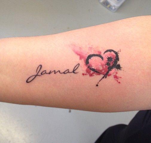 Black Widow Custom Tattoo & Design - WATERCOLOR HEART+NAME
