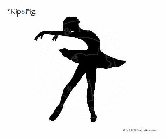 Ballet Silhouette Pose Three applique PDF template by KipandFig